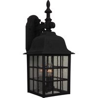 "Craftmade - Exterior Grid Cage Lighting - 8 1/2"" Exterior Wall Light in Matte Black with Seeded Glass"