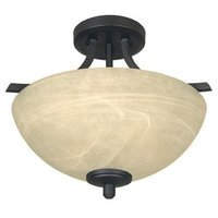 Designers Fountain - Tackwood - Semi Flush Ceiling Light in Burnished Bronze with Tea Stained Alabaster