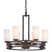 Designers Fountain - Del Ray - 6 Light Chandelier in Flemish Bronze with White Opal