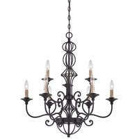 Designers Fountain - Tangier - 9 Light Chandelier in Natural Iron with Satin Chenille