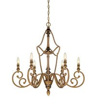Designers Fountain - Isla - 6 Light Chandelier in Aged Brass with Satin Etched