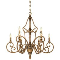 Designers Fountain - Isla - 9 Light Chandelier in Aged Brass with Satin Etched
