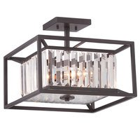 Designers Fountain - Linares - Semi-Flush in Vintage Bronze with Crystal Prisms
