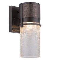 "Designers Fountain - Baylor - 5"" LED Wall Lantern in Burnished & Flemish Bronze with Clear Crackle"