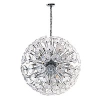 ET2 Lighting - Fiori - Single Pendant in Polished Chrome with Clear Murano Glass