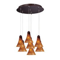 ET2 Lighting - Leopard - 7 Light RapidJack Multi Light Pendant in Bronze with Amber Glass