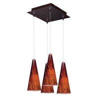 ET2 Lighting - Lava - 4 Light RapidJack Multi Light Pendant in Bronze with Amber Glass