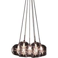 "ET2 Lighting - Starburst - 12"" 7-Light Chandelier in Satin Nickel with Clear Glass"