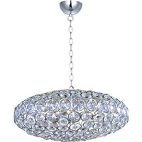 "ET2 Lighting - Brilliant - 24"" 8-Light Single Pendant in Polished Chrome with Crystal"