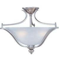 "Maxim Lighting - Madera - 20"" 3-Light Semi-Flush Mount Fixture in Satin Silver with Ice Glass"