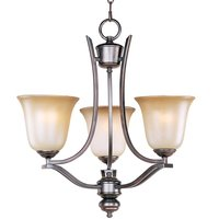 "Maxim Lighting - Madera - 19"" 3-Light Single-Tier Chandelier in Oil Rubbed Bronze with Wilshire Glass"