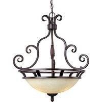 "Maxim Lighting - Manor - 23"" 3-Light Invert Bowl Pendant in Oil Rubbed Bronze with Frosted Ivory Glass"