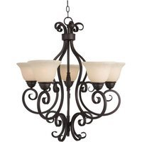 "Maxim Lighting - Manor - 25 1/2"" 5-Light Chandelier in Oil Rubbed Bronze with Frosted Ivory Glass"