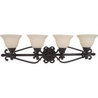"Maxim Lighting - Manor - 37"" 4-Light Bath Vanity in Oil Rubbed Bronze with Frosted Ivory Glass"