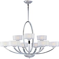 "Maxim Lighting - Elle - 37"" 9-Light Multi-Tier Chandelier in Polished Chrome with Frosted Glass"