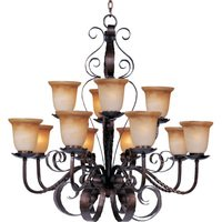 "Maxim Lighting - Aspen - 38"" 12-Light Chandelier in Oil Rubbed Bronze with Vintage Amber Glass"
