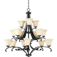 "Maxim Lighting - Oak Harbor - 44"" 15-Light Chandelier in Rustic Burnished with Frost Lichen Glass"