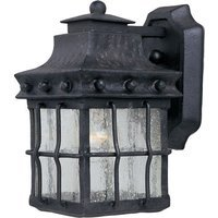 "Maxim Lighting - Nantucket - 6 1/2"" 1-Light Outdoor Wall Lantern in Country Forge with Seedy Glass"