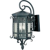 "Maxim Lighting - Scottsdale - 11"" 3-Light Outdoor Wall Lantern in Country Forge with Seedy Glass"