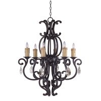 "Maxim Lighting - Richmond - 30 1/2"" 6-Light Chandelier in Colonial Umber with Crystals"