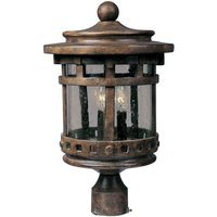 "Maxim Lighting - Santa Barbara DC - 9"" Cast 3-LT Outdoor Pole/Post Lantern in Sienna with Seedy Glass"