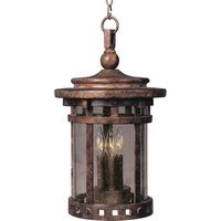 "Maxim Lighting - Santa Barbara DC - 9"" Cast 3-Light Outdoor Hanging Lantern in Sienna with Seedy Glass"