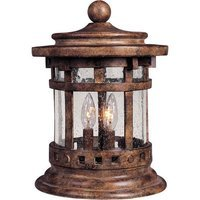 "Maxim Lighting - Santa Barbara VX - 11"" 3-Light Outdoor Deck Lantern in Sienna with Seedy Glass"