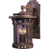 "Maxim Lighting - Santa Barbara VX - 11"" 3-Light Outdoor Wall Lantern in Sienna with Seedy Glass"