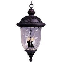 "Maxim Lighting - Carriage House VX - 14"" 3-Light Outdoor Hanging Lan in Oriental Bronze with Water Glass"