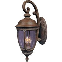 "Maxim Lighting - Knob Hill VX - 13"" 3-Light Outdoor Wall Lantern in Sienna with Seedy Glass"