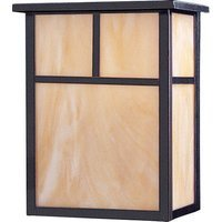 "Maxim Lighting - Craftsman Aluminum - 9"" 2-Light Outdoor Wall Lantern in Burnished with Honey Glass"