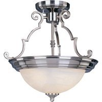 "Maxim Lighting - Satin Nickel - 14 3/4"" 2-Light Semi-Flush Mount in Satin Nickel with Marble Glass"
