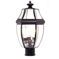 "Maxim Lighting - South Park - 9 1/2"" 3-Light Outdoor Pole/Post Lantern in Black with Clear Glass"
