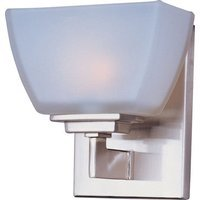 "Maxim Lighting - Angle - 6 1/2"" 1-Light Wall Sconce in Satin Nickel in Satin White Glass"