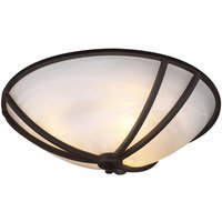 "PLC Lighting - Contemporary Ceiling Lights - CFL 16"" Flush Ceiling Light in Oil Rubbed Bronze with Marbleized Glass"
