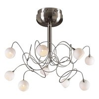 PLC Lighting - Contemporary Chandeliers - (9 light) Chandelier in Satin Nickel with Matte Opal Glass