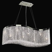 "PLC Lighting - Contemporary Chandeliers - 36"" Chandelier in Polished Chrome with All Clear Asfour Handcut Crystal"