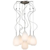 "PLC Lighting - Contemporary Chandeliers - 20"" Chandelier in Polished Chrome with Matte Opal Glass"
